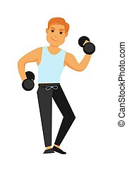 Fit man with dumbbells does exercises isolated illustration...