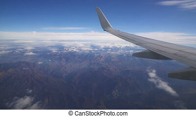 view from the aircraft to the mountains, Montenegro