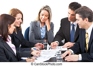 business team - Smiling business people team working in the...