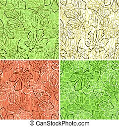 Seamless Backgrounds, Fig Leaves - Set Tile Backgrounds, Fig...