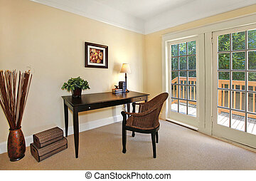Home office - Small home office with a french door to the...