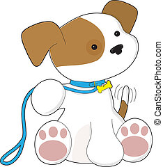 Cute Puppy and Leash - A cute puppy holding a leash in its...