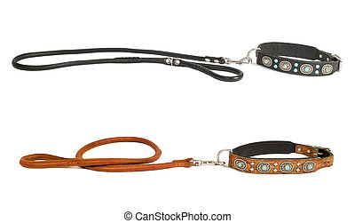 two dog collar with leash - Two leather dog collars inlaid...
