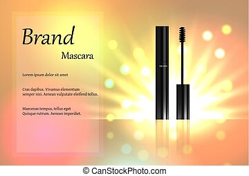 Black mascara with eyebrow brush on the delicate background of pastel tones with light and bright spots. Banner, poster, advertising. 3D vector illustration