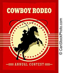 Old west cowboys rodeo retro poster vector illustration with...