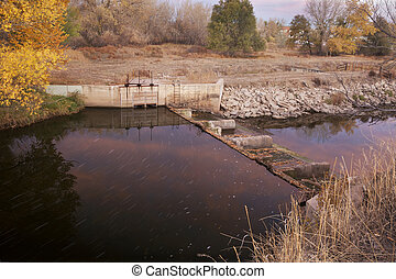 water flowing into irrigation ditch