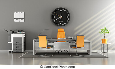 Modern gray and orange office with desk,chair, and...