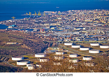 City of Trieste aerial view of industrial zone, capital of...