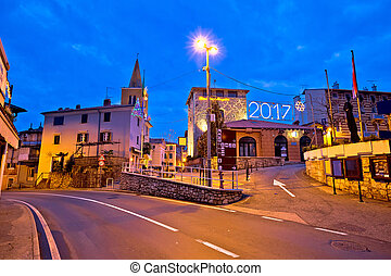 Town of Lovran advent evening view, old architecture of...