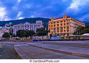 Town of Opatija waterfront sunset panorama, Kvarner bay of...