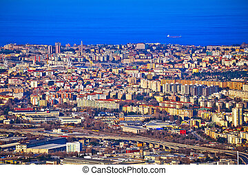 City of Trieste aerial view, capital of Friuli Venezia...