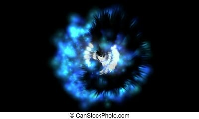 blue nebula and whirl light,magnetic field,energy tech...