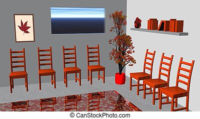 Red waiting room with a tree, chairs, books, window, picture...