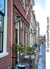 Delft residential district - House row in Delft residential...