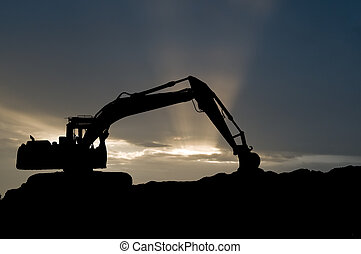 loader excavator silhouette - silhouette of loader excavator...