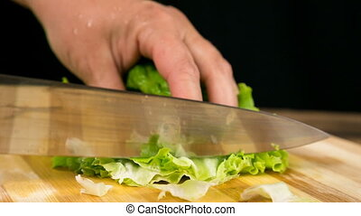 Closeup of cut green salad leaf on cutting board - Closeup...