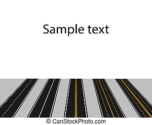 Set of roads with white and yellow markings in perspective on a white background. Abstract. illustration