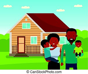 Happy african family in the background of his home. Father, mother, and two son together outdoors.