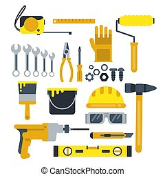 Building or repair tools, work helmet, hammer, paint gloves and other industrial vector icons set