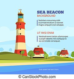 Rock stones island with lighthouse on it. Marine vector cartoon background illustration