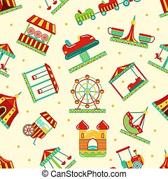 Amusement park with carousel, circus and other attractions. Vector seamless pattern