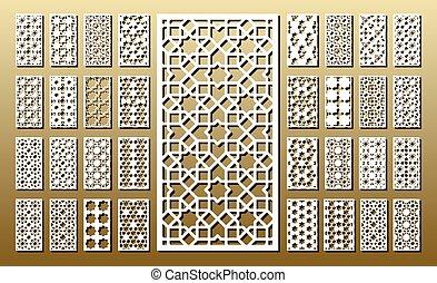Set of die cut cards - Die cut card. Laser cut 33 vector...