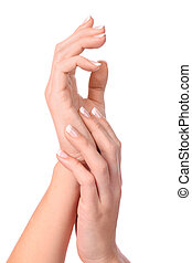 hand of woman with manicure isolated on white