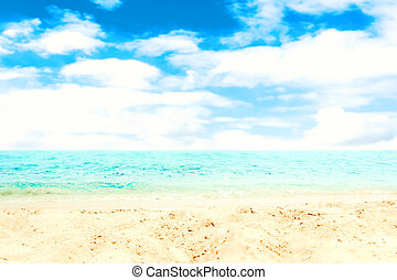 Sand Beach and blue sea - Tropical Holiday Background with...