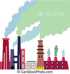 Air pollution background with pipes and smoke, vector...
