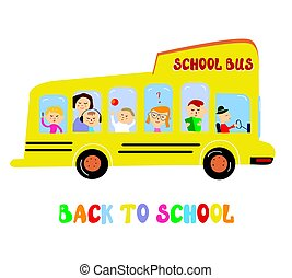 School bus with kids cartoon