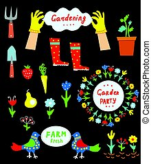 Garden tools and flowers set for gardening or garden party,...