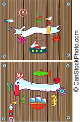 Set of sealife background with frame, with nautical objects....