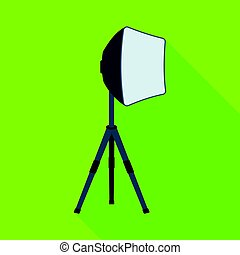 Lighting device on a tripod.Making movie single icon in flat style vector symbol stock illustration web.