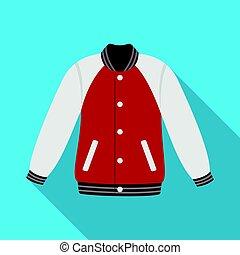 Uniform baseball jacket. Baseball single icon in flat style...