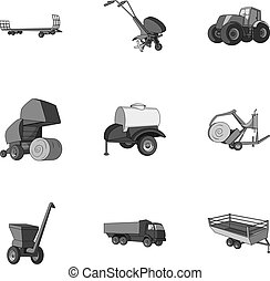 Set of pictures about agricultural machinery. Cars to robots...