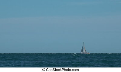 White yacht sails by the sea