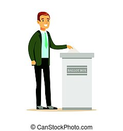 Man putting a ballot into a voting box, casting vote vector character Illustration