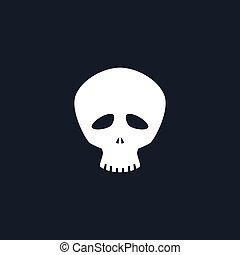 Silhouette Funny Skull - White Funny Skull Isolated,...