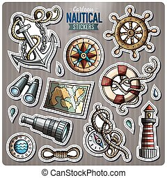 Set of Nautical vector cartoon stickers