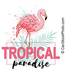 Pink flamingo and green palm leaves on a white background