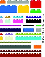Toy building pieces in vector (easily modifiable for graphic...