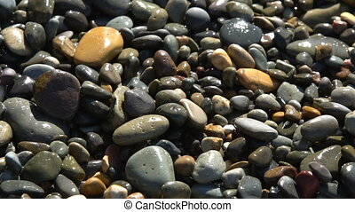 Multi-colored pebbles on the beach