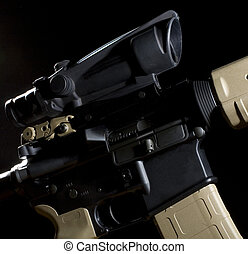 Assault rifle - assault rifle with a high tech optic on a...