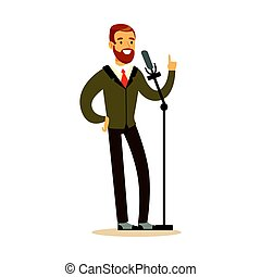 Smiling man speaking into the microphone, public speaker character vector Illustration