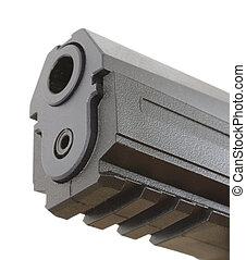 gun barrel - barrel of a polymer framed handgun that is...