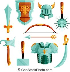 Fantasy weapons in cartoon style. Vector illustrations set