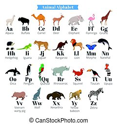 English vector alphabet for kids with cute wild animals near...