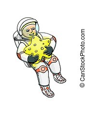 Young astronaut in spacesuit, hugging a star
