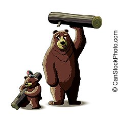 Brown bear and cub bear carry wood from the forest