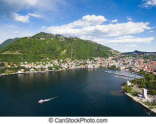 aerial photography view of Como city and lake near Milan in...